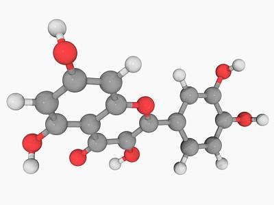 Quercetin Molecule Art Print by Laguna Design/science Photo Library