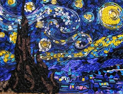 Quilled Starry Night Art Print by Suzy Myers
