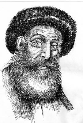 Smiling Jesus Drawing - Rabbi by Michael Mynatt