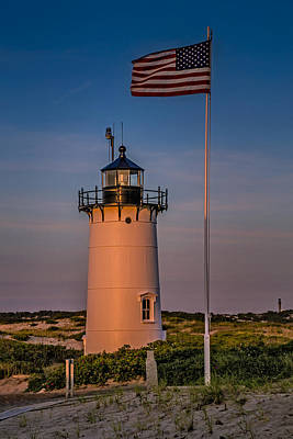 Race Point Lighthouse And Old Glory Art Print by Susan Candelario