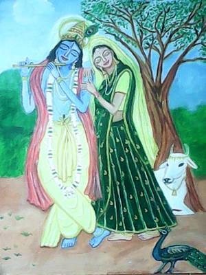 Gopala Painting - Radhakrishna by Suma GV