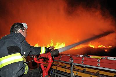 Fire Fighter Photograph - Raging Fire Near The Haifa Oil Refinery by Photostock-israel