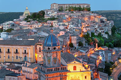 Sicily Photograph - Ragusa At Dusk, Sicily, Italy by Peter Adams
