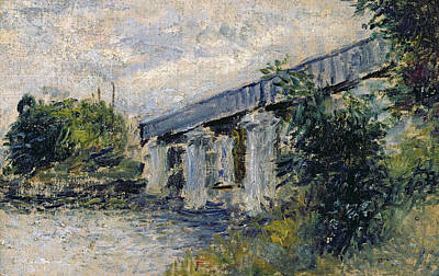 At Poster Painting - Railway Bridge At Argenteuil by Claude Monet