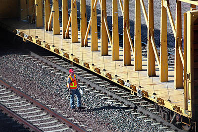 Freight Train Photograph - Railway Worker by Jim West