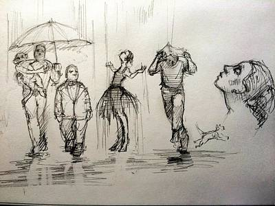 Rain Drawing - Rain by H James Hoff