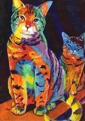 Painting - Rainbow Cats by June Walker