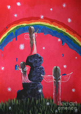 Dripping Paint Painting - Rainbow Fairies By Shawna Erback by Shawna Erback