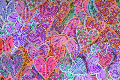 Collages Drawing - Rainbow Henna Heart Cookies by Alixandra Mullins