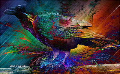 Rainbow Raven Print by The Feathered Lady