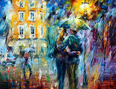 Guy Street Painting - Rainy Date by Leonid Afremov