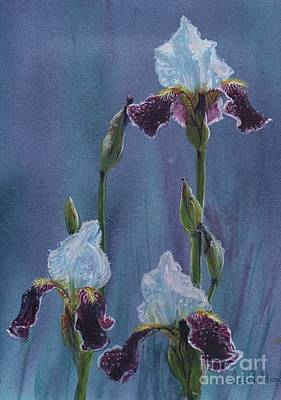 Painting - Rainy Day Irises by LeRoy Jesfield