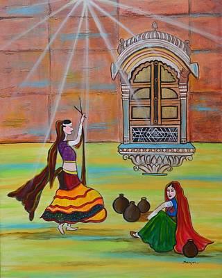 Rajasthani Ladies-dandiya  Art Print by Manjiri Kanvinde