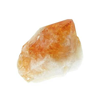 Uncut Photograph - Raw Citrine Crystal by Science Photo Library
