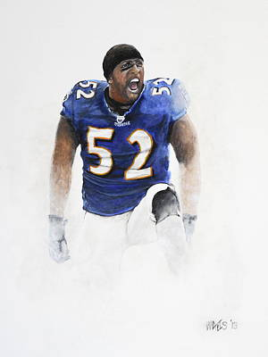 American Football Drawing - Ray Lewis by William Walts