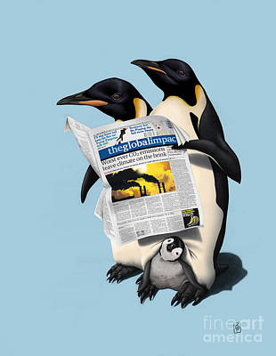 Penguin Drawing - Read All Over Colour by Rob Snow