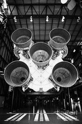 rear view of engines of the saturn five rocket in the apollo saturn v center at Kennedy Space Center Art Print by Joe Fox