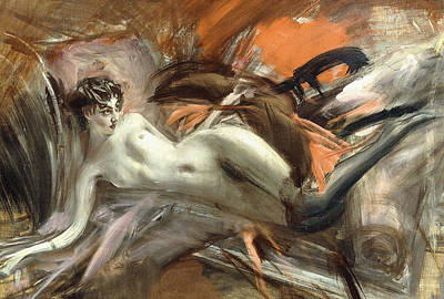 Alluring Painting - Reclining Nude by Giovanni Boldini