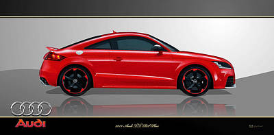 Digital Art - Red 2013 Audi Tt Rs Plus With 3d Badge  by Serge Averbukh