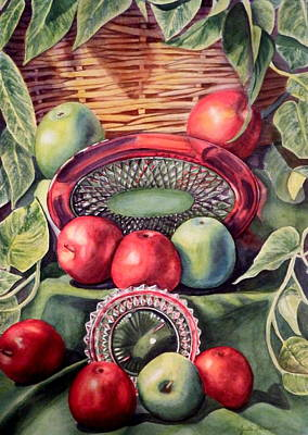 Philodendron Painting - Red And Green Apples by Judith Thrasher