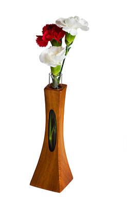 Red And White Spray Carnations In Teak Vase Art Print by Steven Heap