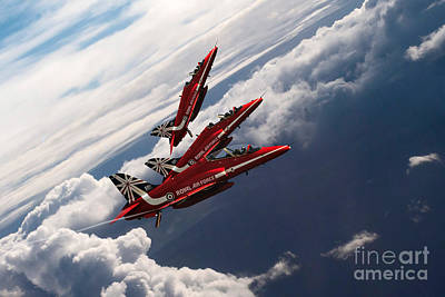 Red Tail Hawk Digital Art - Red Arrows Trio by J Biggadike