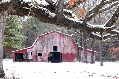 Photograph - Red Barn In Snow by Robert Camp