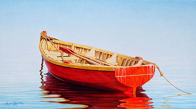 Fishing Painting - Red Boat by Horacio Cardozo