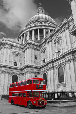 Photograph - Red Bus And St Pauls  by David French