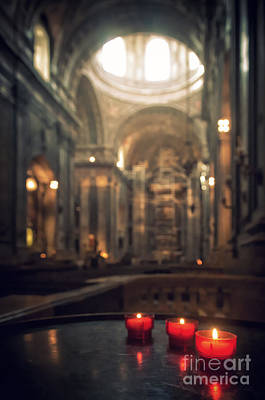 Medieval Temple Photograph - Red Candles by Carlos Caetano