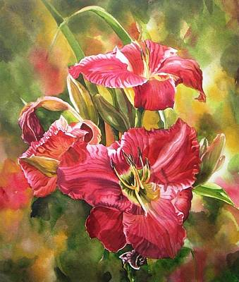Red Daylilies Art Print by Alfred Ng