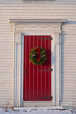 Photograph - Red Door With Christmas Wreath by Alana Ranney
