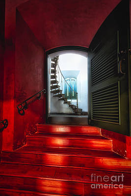 Red Doorway To A Spiral Staircase Art Print by George Oze