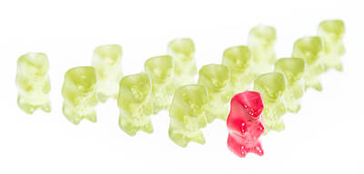 Gummi Candy Photograph - Red Gummi Bear Is Leading The Group by Handmade Pictures