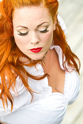 Red Hair Girl In Pin-up Style Portrait Art Print by Jean Schweitzer