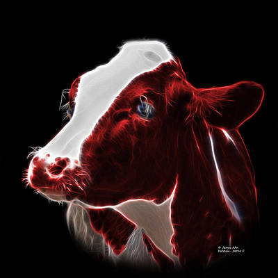 Animal Lover Digital Art - Red Holstein Cow - 0034 F by James Ahn