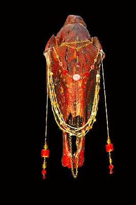 Steer Mixed Media - Red Illuminating Horse Skull  by Mayhem Mediums