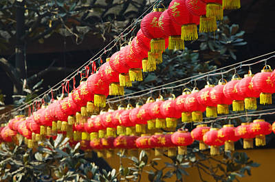 Repetition Photograph - Red Lanterns At A Temple, Jade Buddha by Panoramic Images