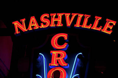 Tennessee. Country Music Photograph - Red Neon Sign Nashville Crossroads by Panoramic Images