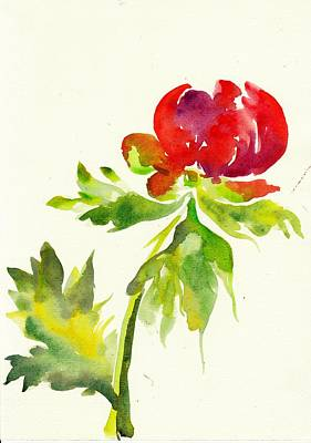 Mit Painting - Red Peony With Leaf Watercolor by Tiberiu Soos