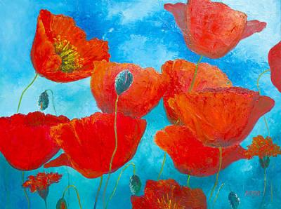 Audrey Hepburn - Red Poppies by Jan Matson