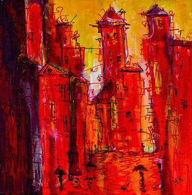 Red Rainy City 2 Art Print