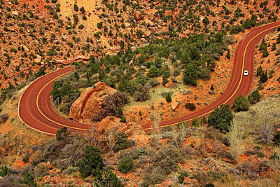 Photograph - Red Road Through Zion by Daniel Woodrum