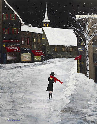 Red Scarf Winter Scene Art Print
