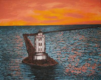 Lighthouse At Night Painting - Red Sky At Night by Irving Starr