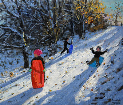 Winter In The Country Painting - Red Sledge by Andrew Macara