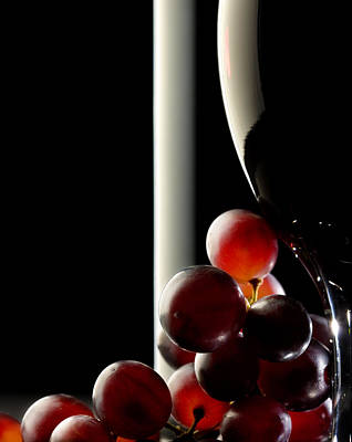 Still Life Royalty-Free and Rights-Managed Images - Red wine with grapes by Johan Swanepoel