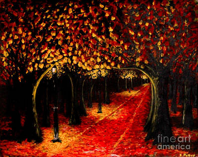 Light Paint Drawing - Red Woods by Kenneth  Pettay