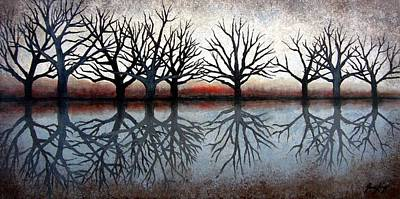 Reflecting Trees Art Print by Janet King