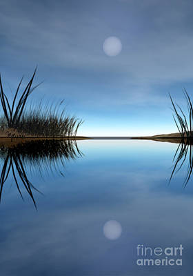 Moon Photograph - Reflection by Lori Lejeune